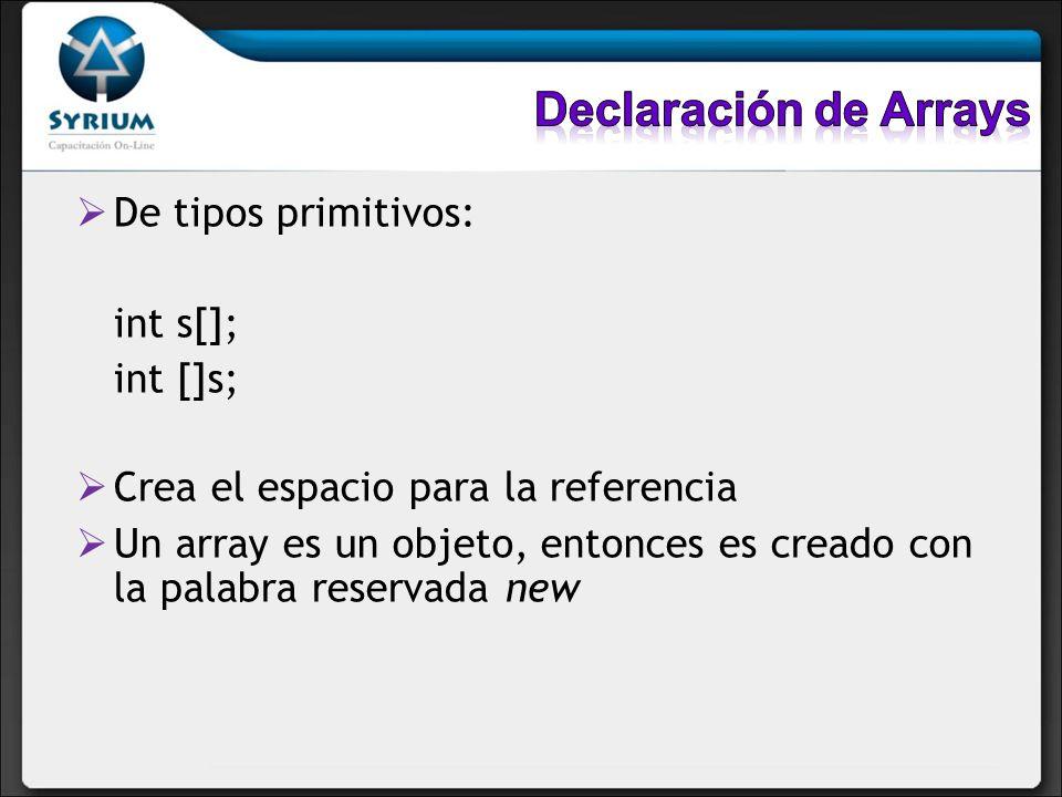 Declaración de Arrays De tipos primitivos: int s[]; int []s;